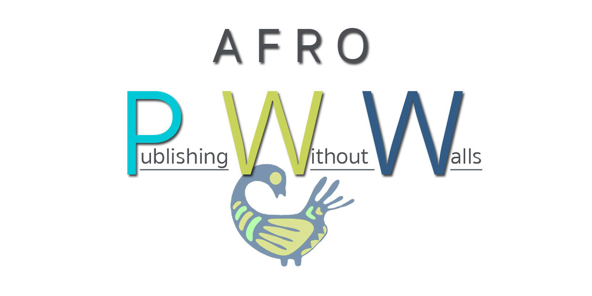 AFRO-PWW words with Sankofa symbol in light and dark blues and green