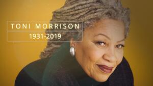 "Toni Morrison with a mustard yellow background and text reading ""Toni Morrison 1931-2019"""