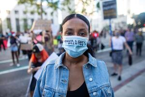 "Fask Mask ""Please, I can't breathe"" as people protest.  #GeorgeFloyd May June 2020"